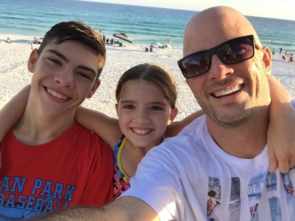 nick, ethan and emma diliberto at beach